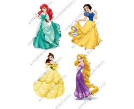 вафельная картинка принцессы дисней, 4 шт