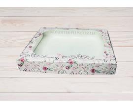 коробка для пряника с розочкой 150х200х30 мм