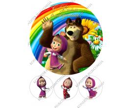 вафельная картинка Маша и медведь №3