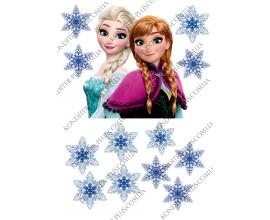 вафельная картинка эльза + снежинки