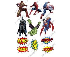 вафельная картинка супер герои+ значки
