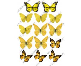 вафельная картинка желтые бабочки
