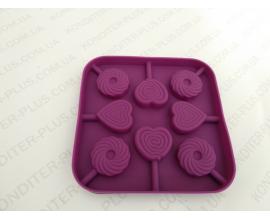сил.форма для леденцов и шоколада, сердце круг 3,3*0,8 см
