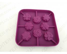 сил.форма для леденцов и шоколада 8 цветочков 3 см