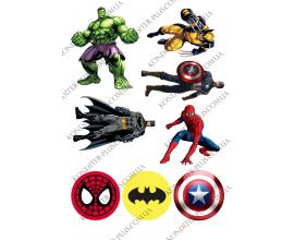 вафельная картинка супер герои и значки 2