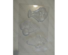 молд пластиковый 3 рожка мороженого, 10 см
