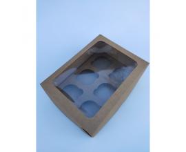 Коробка на 6 капкейков с окошком, крафт, 240*180*90