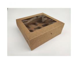 Коробка на 9 капкейков с окном, крафт, 240*250*90