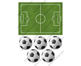 вафельная картинка футбольное поле+5 мячей