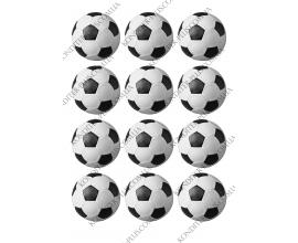 вафельная картинка футбольные мячи, 6 см