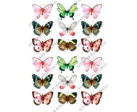 вафельная картинка разноцветные бабочки 2