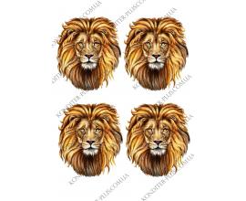 вафельная картинка лев 4 шт, 11  см