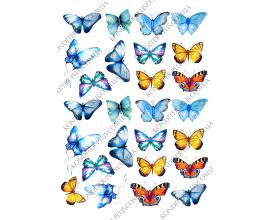 вафельная картинка бабочки акварель