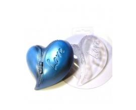 пластиковая форма сердце с молнией, 10,5*9 см