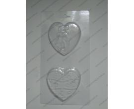 пластиковая форма сердце поцелуй+пазл, 8*7,5 см