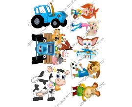 вафельная картинка барбоскины и синий трактор