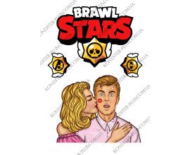 вафельная картинка поп арт и brawl stars