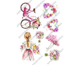 вафельная картинка девушка и цветы