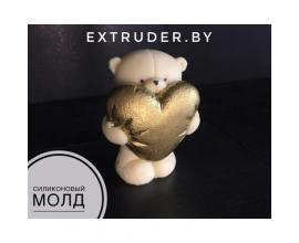 молд 3д мишка с сердцем, 8 см