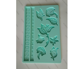 молд планшет фантазийные листики 20*12,5 см