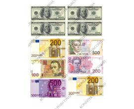 вафельная картинка доллары, евро, гривны