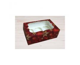 коробка на 6 кексов красный снег, 5 штук