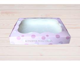 коробка розовая с кружочками 20*15