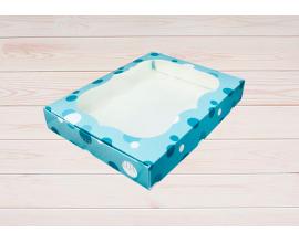 коробка бирюзовая с кружочками 20*15*3