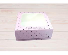 коробка 15*15*6 розовая в темный горошек