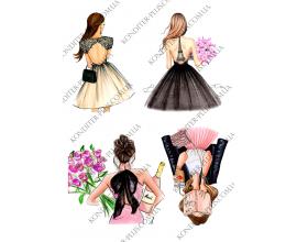 вафельная картинка 4 девушки №3