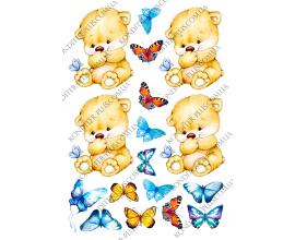 вафельная картинка мишки 10 см и бабочки