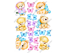 вафельная картинка мишки и бабочки №2