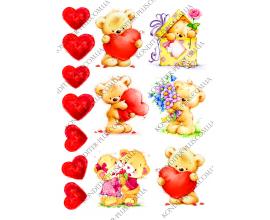 вафельная картинка мишки с днем святого валентина №2