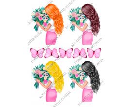 вафельная картинка 4 девушки и розовые бабочки