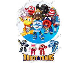 вафельная картинка роботы-поезда (robot trains) 2