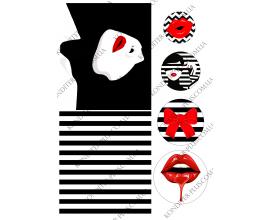 вафельная картинка девушка, черно-белое №1