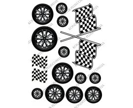 вафельная картинка колеса и флажки