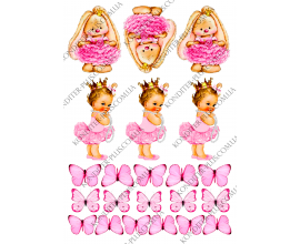 вафельная картинка кролики, девочка и бабочки