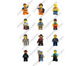 вафельная картинка персонажи lego в круге № 14