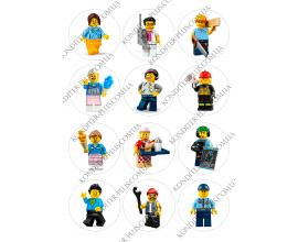 вафельная картинка персонажи lego в круге № 18
