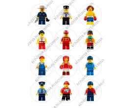 вафельная картинка персонажи lego в круге № 15