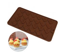 Силиконовая форма для шоколада  Сердца-монетки