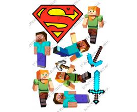 вафельная картинка майнкрафт и значок супермена
