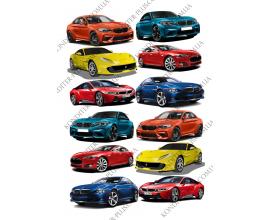 вафельная картинка автомобили 12 шт
