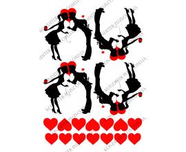 вафельная картинка пара и сердца