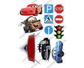вафельная картинка тачки и дорожные знаки
